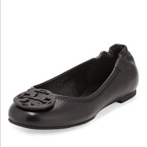 Tory Burch Reva Tumbled Leather Ballerina Flat